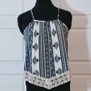 TWIK Black white crochet Bohemian top